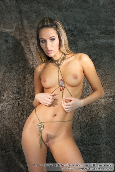 Sexy hungarian aleska diamond posing in a body chain
