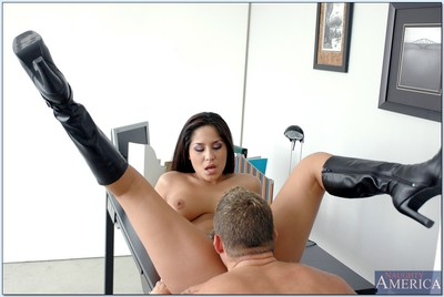 Lascivious office hottie Jenaveve Jolie jazzes in boots and swallows sex cream