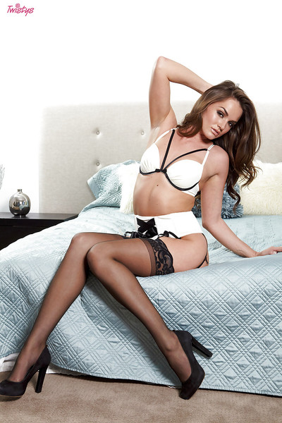 Agreeable babe in stockings Tori Black fingering her sweet love-cage