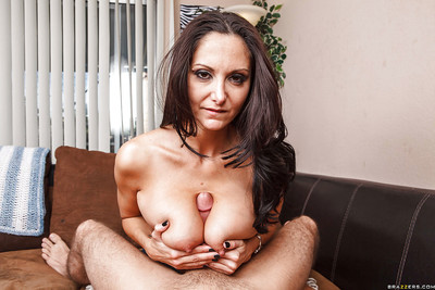 Titsy MILF Ava Addams gives a titjob and gains her love holes cocked up