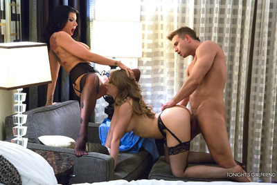 Kagney linn karter and romi rain have hot sexual act with their favourable client