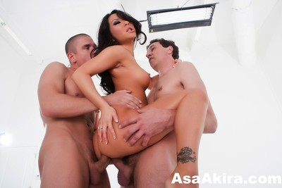 Asa akira perspired threesome