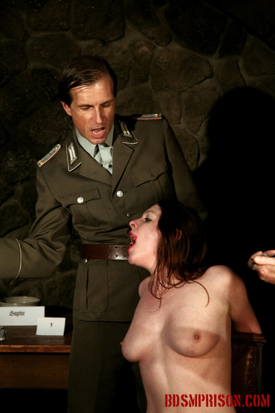 Sophie is punished on a daily basis by 3 prison guards shes been senten