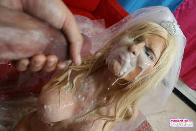 Lustful big tits blonde slut hardcore facial bukkake