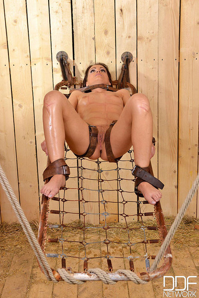 Sophie lynx gorgeous hotty is tied caged with her fur pie exposed