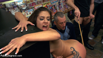 Jynx maze paraded around a porn store where this babe is apple bottoms fucked!