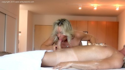 Wifey gives topless dick sucking and hand job