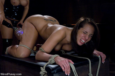 Sweaty lesbian bdsm with strap-on sex, bondage, and electro-play!!!