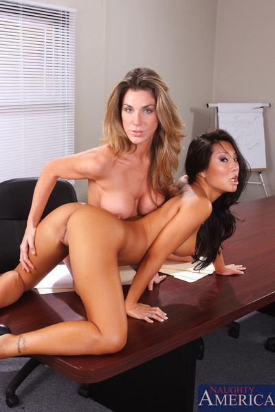 Dualistic horny office hotties plough on some bossman pecker