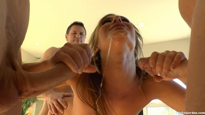 Sheena shaw getting her holes stuffed by three big prides