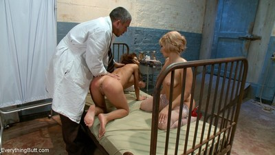 Sexually excited girl punished and booty bonked by night nurse and doctor