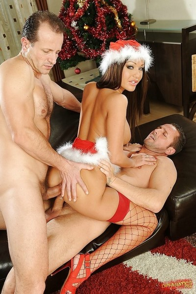 Alluring european xmas lassie has some dp fun with two hung guys