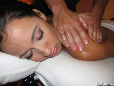 Masseuse drips his hands all over bitch