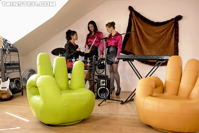 Clammy clothed horny woman-on-woman doing on a enormous inexpert chair