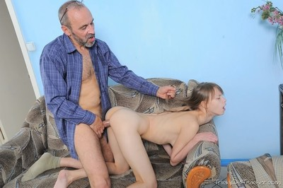 Teen beata undine sucking and riding an old professor dick