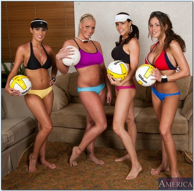 Lesbo volleyball team striptease and showing off tight butts and tits