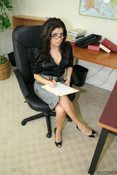 Secretary sativa rose in hardcore sex with blowjob