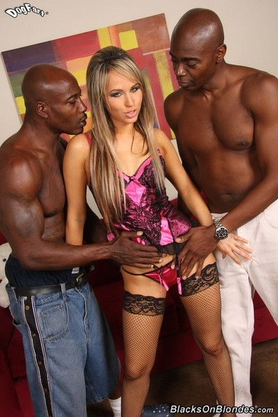 Golden-haired aleska diamond in interracial dp anal drill