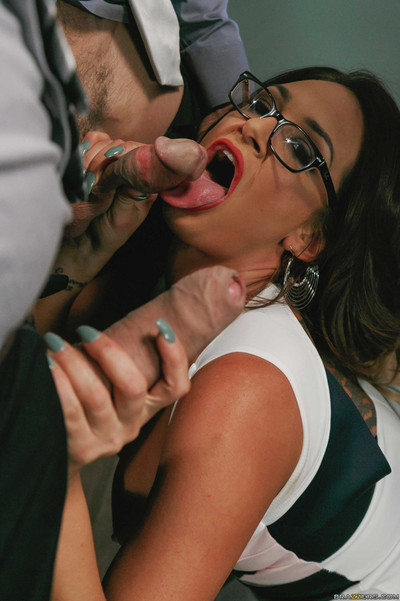 Curvy boss lets her employees fuck her tight holes
