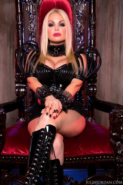 Golden-haired sexy dominatrix owned with a major bar