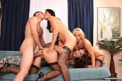 Three terrific cougar sluts desire mammoth stiff schlong to oral sex and f