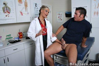 Lustful doctor in glasses Phoenix Marie strips to ride a immense boner