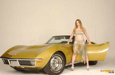 Sunny lane strips in a classic corvette
