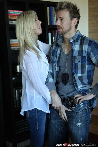 Bibi jones hot blonde makes love in her stiff modish jeans