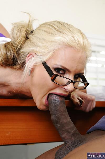 Horny blonde secretary with huge meatballs Phoenix gives a sloppy blowjob