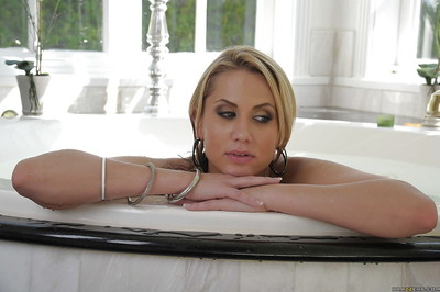 Appealing MILF with massive round mounds Alanah Rae taking a bath