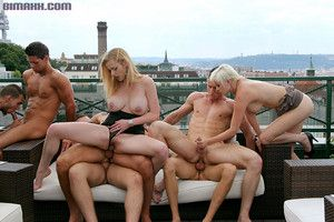 Swinging both ways orgy outdoors from bimaxx