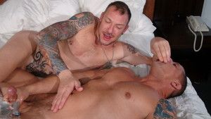 Wanna see a couple of mature bareback daddies! Irregularly say hello to Clark Longhammer and Kyle Savage. Clark is a tall, tattooed fucker encircling a dirty mouth and he loves willing, eager cock virago bottoms like Kyle Savage. Between the mutual suckin