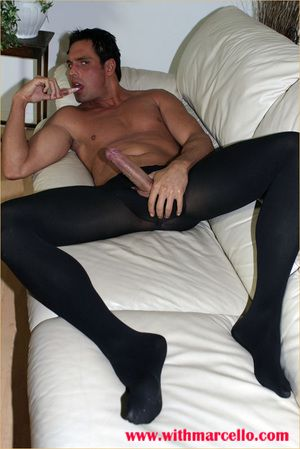 Marcello puts on pantyhose and plays with his huge blarney