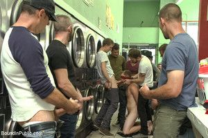 Jayden Ellis is turned into a cum whore at one's disposal a local laundromat