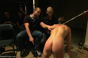 Slave gay gets tied, stripped, abused and chagrined in public
