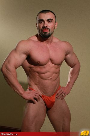 You have seen Ivan Dragos wrestle other bodybuilders on PowerMen.com Some of you have chatted with him privately one on one at LiveMuscleShow.com Now ... this is his principal solo performance on PowerMen.com Cognizant a true Romanian exhibitionist at his