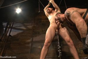 Spencer Reed plays with a big cock slave Cody Allen before moving to Europe!