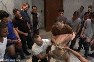Hot stud Connor Patricks gets gang fucked in a bathroom while girlfriend waits outside