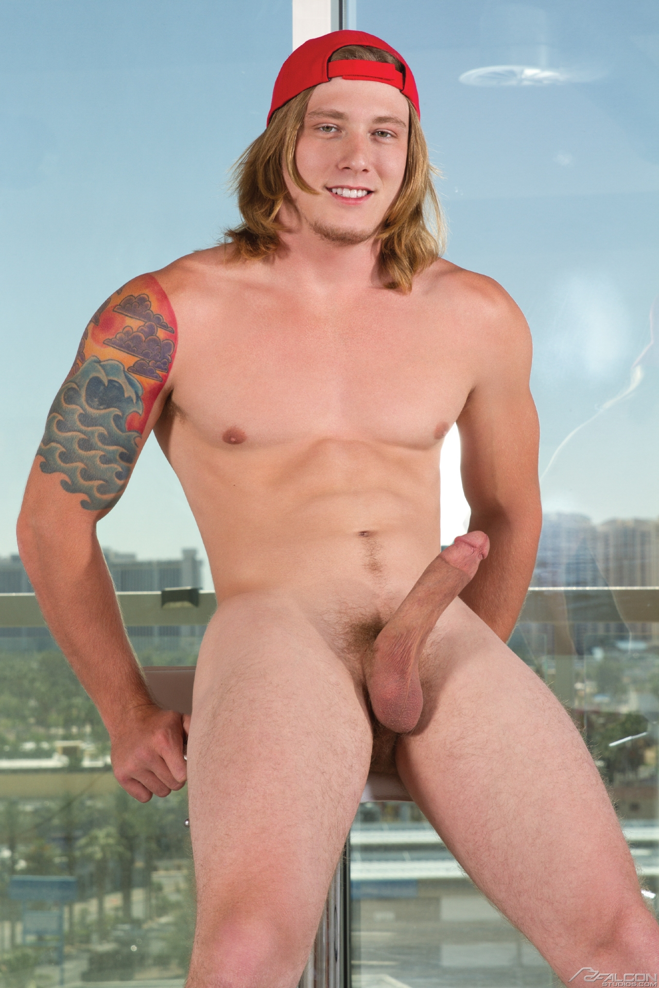 Colt Rivers brings skater-hunk Tom Faulk to the Sex Cushion for a hot fuck. Tom has scruffy facial hair, a shaggy blond mane that cascades to his shoulders plus pubes that match his flowing locks. Tom is completely content in the air charter out Colt drin