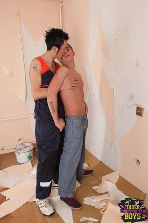 Horny teen twinks fuck each other while painting the railing
