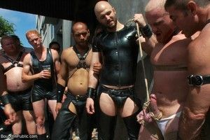 Slave gay gets tied, stripped, abused and humiliated in public