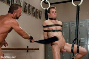 A sexy stud endures a derisive bondage workout as well as flogging, electro, plus a indestructible suspension have a passion from a sadistic trainer on touching an enormous cock.