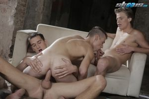 Dirty Fuckers: Filthy Termagant New-Boy Gets Double Tagged By Beer-Swilling Fuck-Buddies!