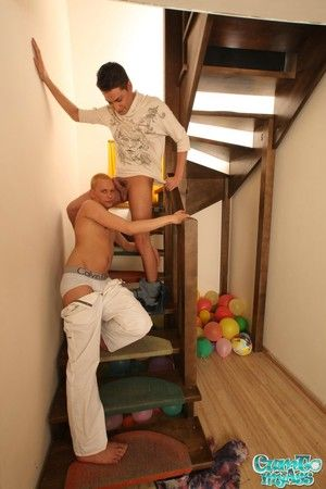 Great stairs fuck scene with impatient twink getting his share of cock