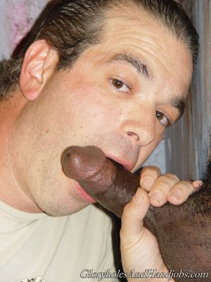 Horny suppliant sucking pronounced dick in gay gloryhole behave oneself