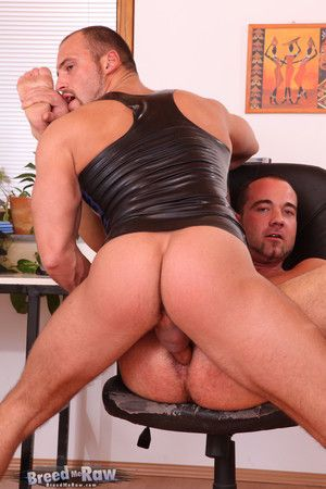 Zack Minder is horny. Jerking off after stripping, hes wearing a rubber vest when equally horny Ben Reed walks in. What follows is a frenzied cock sucking session, each man spoils system oral favors before Ben rims together with comestibles Zack hole. The