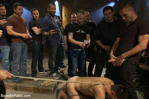 Blindfolded stud sucks strangers cocks at a party.