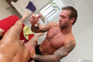 Harmful masseur having fun with an oiled up guy