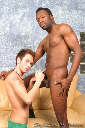 Cute man playing roughly huge black cock in gay interracial simulate