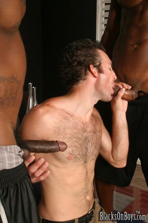 White gay mouth stretched by two black cocks